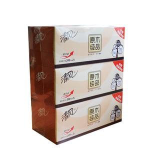 清�L 家庭�k公室用�o香型原木�盒�b面巾�桌面抽��巾300抽/盒 3盒/提 B338C1